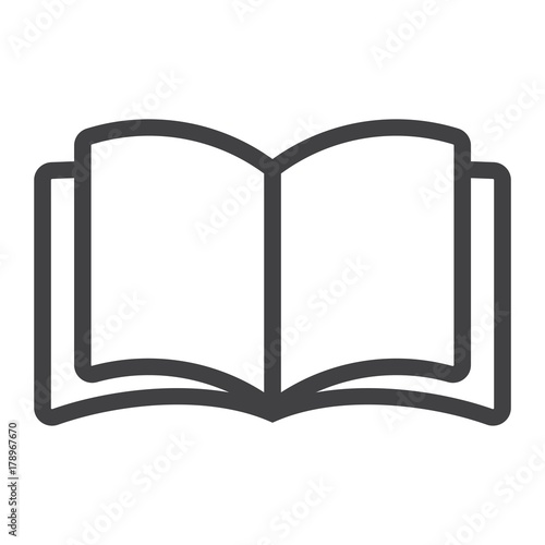 Fototapeta Open book line icon, web and mobile, read mode sign vector graphics, a linear pattern on a white background, eps 10. obraz