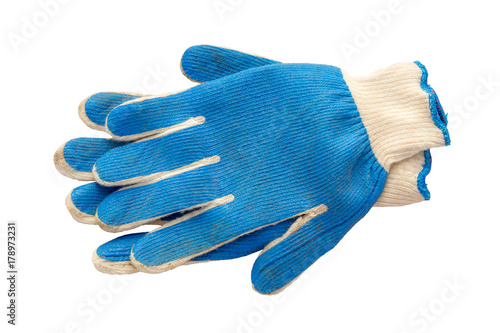 Fotografía  Gardening gloves cut out on a white background.