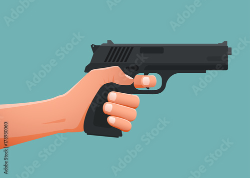 Fotomural Hand holding gun shoting. Vector illustration