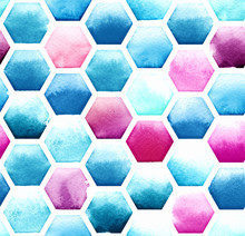 Hexagon Pattern Of Blue And Ma...