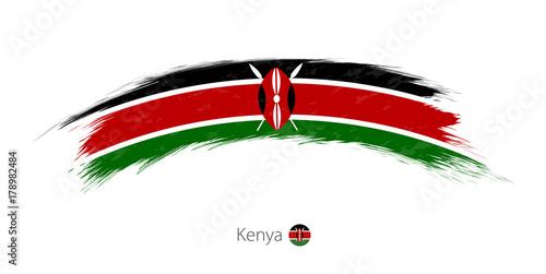 Fotografie, Obraz  Flag of Kenya in rounded grunge brush stroke.