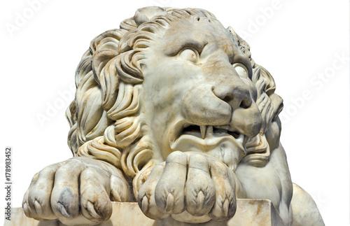Zdjęcie XXL Antyczny rzeźba marmurowy lew Odizolowywający na bielu