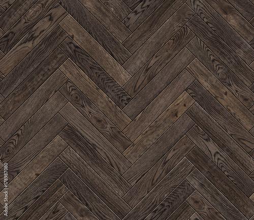 Valokuva  Natural wooden background herringbone, grunge parquet flooring design seamless t