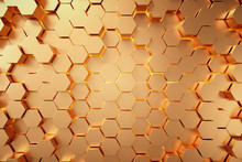 Golden Hexagonal Honeycomb Background,3d Background,Abstract 3d Rendering Of Gold Surface.