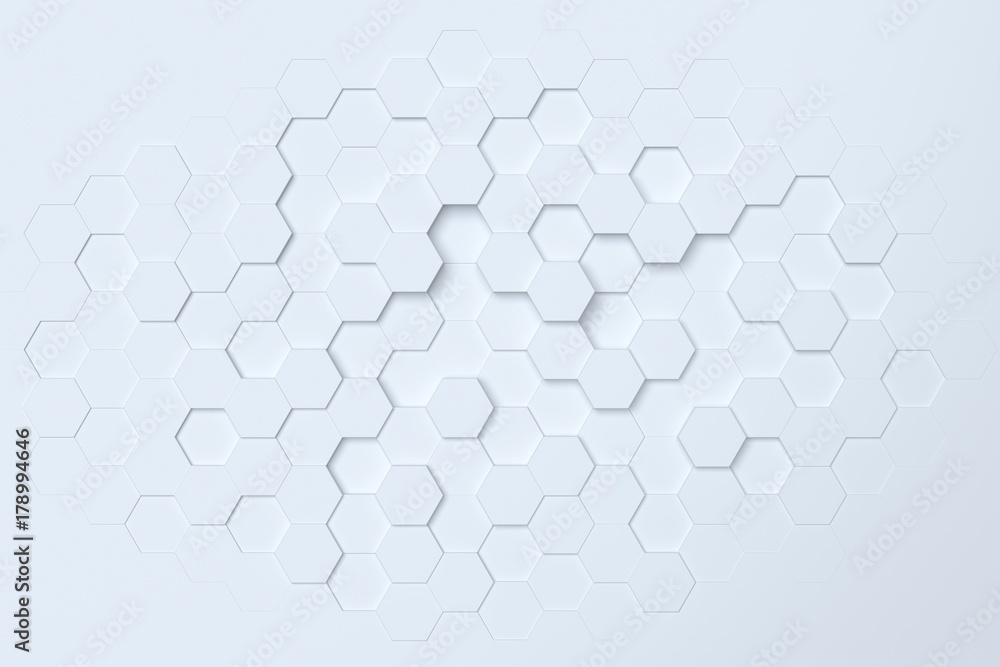 Fototapety, obrazy: White hexagonal abstract 3d background