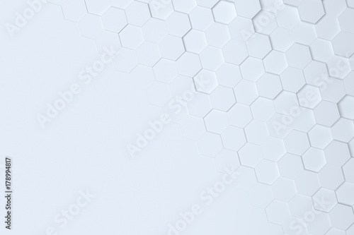 Fototapety, obrazy: White hexagonal abstract 3d background