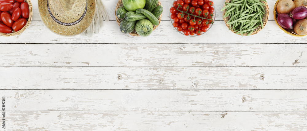vegetables top view on kitchen white large table, web banner copy space template