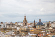 aerial view old town of Valencia, Spain, Micalet, the belfry of the Cathedral, at background