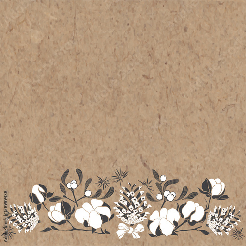 Festive border with cones, mistletoe and cotton Canvas-taulu