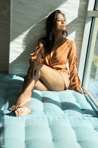 Fotografie, Obraz  Beautiful exotic woman wearing robe