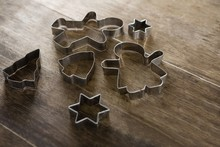Various Cookie Cutters On Wood...