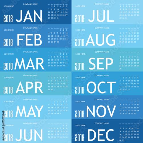 Fényképezés  calendar blue for 2018 illustration