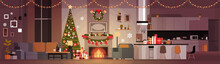 Living Room Decorated For Chri...