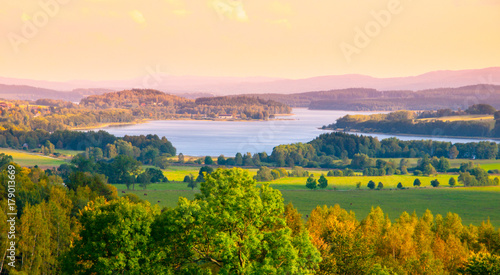 Autumn landscape at Lipno water reservoir, Sumava National Park, Southern Bohemia, Czech Republic.