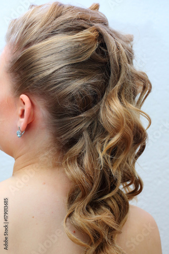Wedding Hairstyle Curls To One Side Buy This Stock Photo And