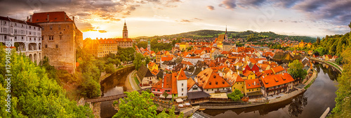 Fotografie, Obraz  Panoramic sunset view over the old Town of Cesky Krumlov, Czech Republic