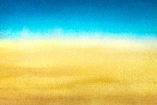 Light Blue To Warm Yellow Abstract Sea And Beach Gradient Painted In Watercolor On Clean White Background