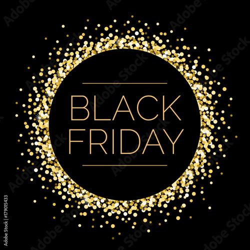 Fotografia  Black Friday Round Gold Sparkle Illustration 1