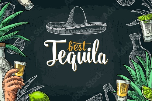 Poster with hand holding glass tequila Wallpaper Mural