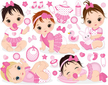 Vector Set With Cute Baby Girls, Toys And Accessories