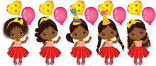 Vector Cute Little African American Girls With Balloons