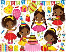 Vector Birthday Set With Little African American Girls And Party Elements