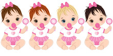 Vector Cute Baby Girls With Ra...