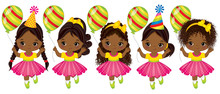 Vector Cute African American Little Girls With Balloons