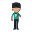 man avatar with cap using cellphone icon image vector illustration design