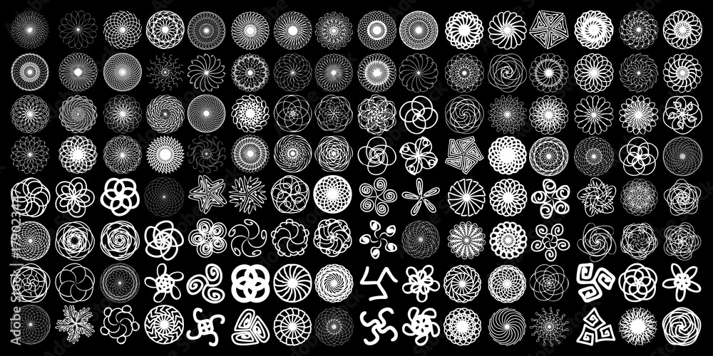 Fototapeta Sacred geometry signs set. Set of alchemy religion, philosophy spirituality  symbols and elements. Hipster symbols and elements geometric shapes flower of life linear contour. Vector.