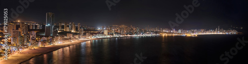 Night Panorama of Benidorm city skyline, in Alicante province, Spain.