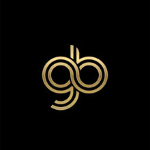 Initial Lowercase Letter Gb, Linked Outline Rounded Logo, Elegant Golden Color On Black Background