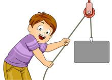 Kid Pulley Simple Machine Illustration