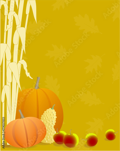 Valokuva  Autumn Season Pumpkins, Apples, Gourds and Cornstalks Background