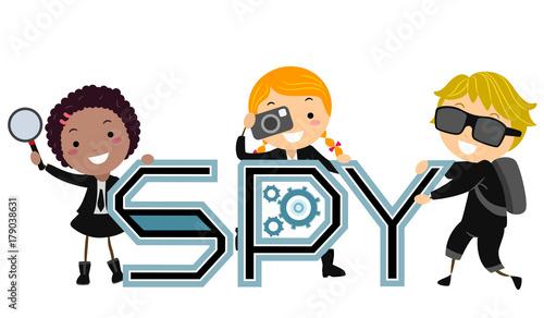 Cuadros en Lienzo Stickman Kids Spy Illustration