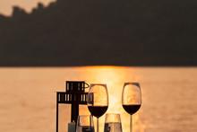 Silhouette Of Romantic Dinner ...