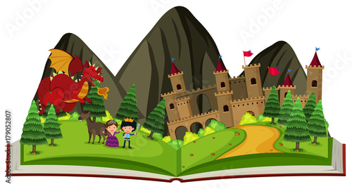 Storybook with dragon at the castle Poster Mural XXL