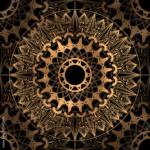 Golden Luxury Background Vector Gold Black Wedding Pattern Design Indian Mandala Ornament For Party
