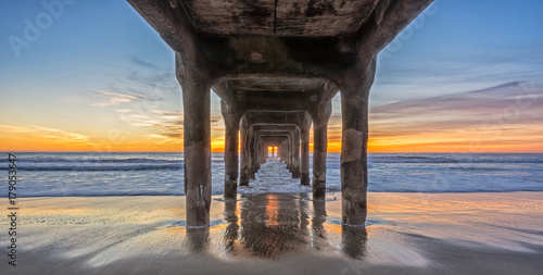 sunset under the pier