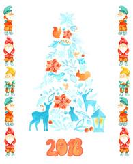 Christmas card with Christmas tree and gnomes