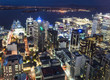 Aerial night view of Auckland in New Zealand