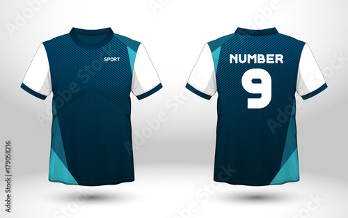 Layout Football Sport T Shirt Design Template Front Back View