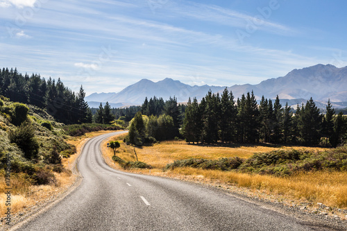 On the road in New Zealand south island near lake Monowai