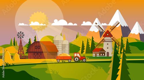 Poster Castle Colorful Flat Design of Agricultural Rural Landscape, Vector Illustration.