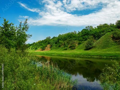Fototapeta The river in the spring in a sunny day. obraz na płótnie