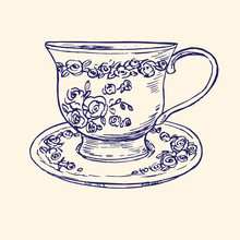 Classical Porcelain Cup And Saucer With Roses And Leaves Ornament,  Hand Drawn Doodle, Simple Sketch In Pop Art Style, Vector Black And White Illustration