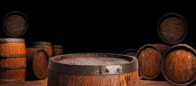 Rustic Wooden Barrel On A Night Background