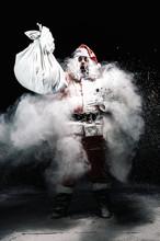 Explosion Of Snow Santa Claus.