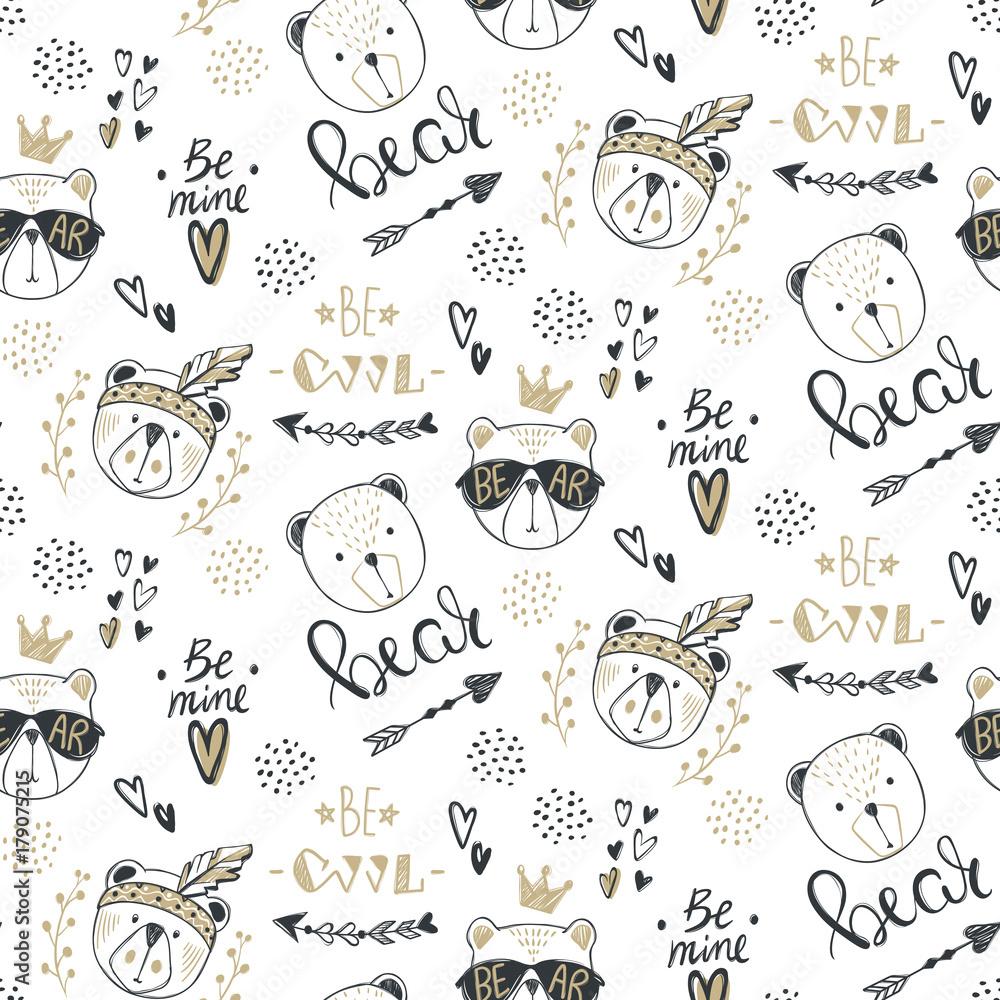 Wektor moda niedźwiedź wzór. Cute teddy ilustracji w stylu szkicu. Kreskówka zwierząt tło. Doodle niedźwiedzie. Idealny do tkanin, tapet, papieru do pakowania, tekstyliów, pościeli, nadruków na t-shirtach.
