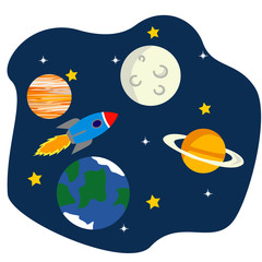 Fototapeta Space flat vector background with astronaut, rocket, spaceship, moon, planets and stars. Space for your text.